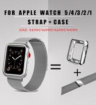 Milanese Magnetic Strap + CaseสำหรับApple Watch 3 2 1 42Mm 38Mmสร้อยข้อมือเหล็กสแตนเลสสำหรับI Watch Series 5 4 40Mm 44Mm