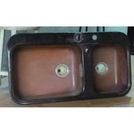 [二手]鑄鐵搪瓷3孔水槽一體成型/嵌入式洗水槽-雙槽廚房洗菜盆