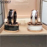 925 sterling silver cabinet Bulgari small celebrity charity ring men's bv black and white ceramic couple rings