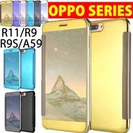 Luxury Flip Clear Mirror Plating View Case Cover for OPPO R11 R11S Plus R9S R9 F1S A59 A39 A57