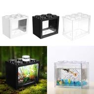 創意迷你魚缸 鬥魚缸 魚缸LED燈超白迷你小魚缸 積木桌面創意生態鬥魚缸