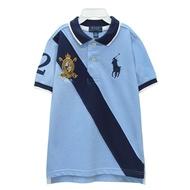 Ralph Lauren 童裝徽章大馬拼接短袖POLO衫-藍色