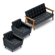 【KENELEPHANT】扭蛋轉蛋 Karimoku60 迷你家具 一組3入 黑色沙發組
