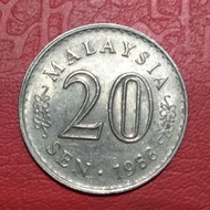 koin asing 20 sen malaysia 1988 TP 3376