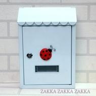 [HOME] 純白屋簷造型瓢蟲鍛鐵信箱、意見箱 花邊信箱 白色信箱 瓢蟲信箱