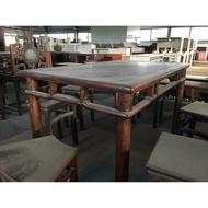 圓腳四人餐桌/實木桌子/雕花桌/迎賓桌