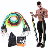 【JIELIEN】健身拉力繩11套組(拉力繩 阻力帶 拉力帶 彈力帶 訓練帶 健身器材)