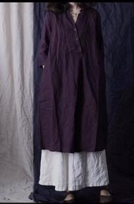 日系 小立斜領 半襟 長版 棉麻洋裝(共4色)  *現貨+預購*