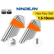NINDEJIN 7/8/9pcs加長圓頭球頭平端六角扳手套裝CRV鋼1.5mm2mm2.5mm3mm4mm5mm6mm