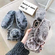 3D Rabbit Bunny Toy Phone case for Oppo R9 R9s R11 R11s Plus R15 R17 Pro Winter High Quality rabbit Artificial Warm Fluffy Fur Hair Back Cover Oppo F1s F1 F3 Plus A3 A3s A5 A79 A83 A59 A57 F7 F9 cases