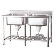 一鑫餐具【四尺 營業用不銹鋼雙深水槽 120公分】大廚不銹鋼水槽不鏽鋼水槽白鐵水槽洗衣槽洗手槽洗碗槽