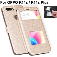 Open window leather case For OPPO R11s cover For OPPO R11s plus phone cases For OPPO R11sPlus flip case OPPOR11s plus