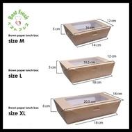 Brown Paper Kraft Lunch Box Window Size Xl - Extra Large - Window Box