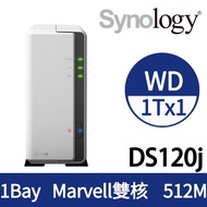 [WD NAS碟(3年保) 1TB*1] Synology DS120j NAS(1Bay/Marvell雙核/512MB)