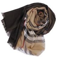 BURBERRY 經典大格紋羊毛絲綢披肩/圍巾(咖啡格)