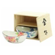 《富樂雅居》日本製 美濃燒 和藍 花日記 盛缽 二入組 (  附木箱 ) 牡丹 • 鐵線蓮 02986