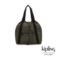 Kipling 迷彩緞灰兩用側背後背包-小-ART BACKPACK S