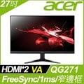acer QG271窄邊螢幕(27吋/FHD/HDMI/喇叭/VA)