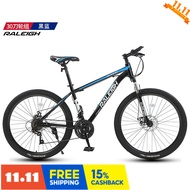 British RALEIGH mountain bike 24/27/30/33 speed disc brake shock absorption male and female student fitness off-road racing 24-speed high-carbon steel black and blue spoke wheel 26 inches