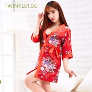 TWINKLE1.SG Women Underwear Bath Robe Sexy Lingerie Oriental Cherry Dress