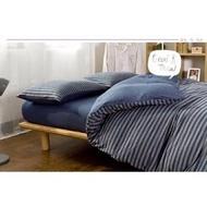 無印良品同款天竺棉深藍灰條紋床包四件組 床單被套枕套 床組 無印良品 ikea zera 雙人床  簡約 專櫃  新疆棉(2480元)
