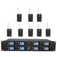 UHF wireless microphone system eight-channel head-mounted microphone stage performance school speech outdoor activity microphone