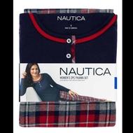 (零碼出清)Nautica女長袖睡衣兩件組XL