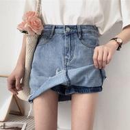 防走光 牛仔短裙 褲裙 短褲 顯瘦 長腿 牛仔裙 牛仔褲 復古 刷舊 百搭 ANNA S.