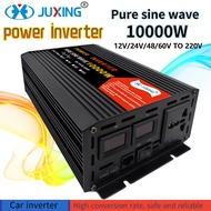 JUXING Pure Sine Wave Power Inverter Converter 3000W 4000W 6000W 8000W 10000W Bulit-in Transformer DC12V / 24V / 24V / 48V / 60V to AC220V with 2 USB and AC outlet for Electric Vehicle/Car /Home Appliance/Outdoor Travel Use Sine Wave Inverter Adapter