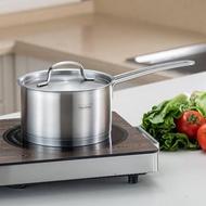 【慕廚 Momscook】加厚304不鏽鋼 湯鍋 牛奶鍋 單柄鍋 三層複合底 快速導熱 附鍋蓋(1.5L)
