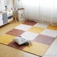 木紋泡沫地墊家用仿木地板墊子兒童拼圖地墊臥室拼接榻榻米墊QM 美芭