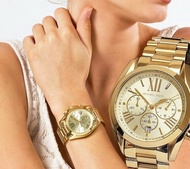 Michael Kors Gold Chronograph Bradshaw Authentic and Pawnable watch- Mens Watch OR Womens watch for Formal or Casual