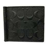 COACH 男款8卡鈔票夾短夾禮盒(全皮-浮雕黑)