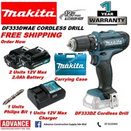 MAKITA Power Tools DF333DWAE 12Vmax Cordless Driver Drill Combo Set RM399 *Included: 2 x 12Vmax 2.0Ah Battery, 1 x Charger and Carrying Case FOC. Philip Bit『1 Year Warranty Original Makita Malaysia Products』
