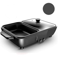 Electric hot pot Sukiyaki BBQ Grill 2-Channel Electric BBQ Grill, Suki pan with coating, Model WS-001.