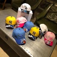 MLB 兒童帽子2019新款洋基隊NY平沿嘻哈帽卡通恐龍寶寶棒球帽