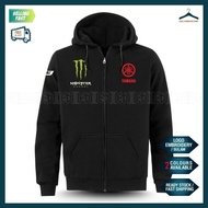 [HOT] Yamaha Tech3 Monster Zip Hoodie Sulam MotoGP Motorcycle Motosikal Superbike Racing Team Casual Y125Z RXZ TZMSRLY15