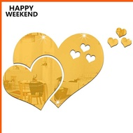 [Ready Stock] Mirror Wall Stickers Removable Diy Love Heart