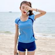 泳衣女保守 學生分體平角運動款游泳衣 韓國小胸聚攏遮肚溫泉泳衣摩可美家
