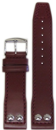 22mm Panatime Burgundy IWC Style Genuine Leather Pilots Style Watch Band with Match Stitching 22/20 125/75
