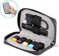 ETESTAR Carrying Case for Juul, Wallet Cover Holder Organizer for Vape Cartridge Pods Charger Cord, Travel Storage Bag Purse with Zipper for Juul Accessories PU Leather (Device not Included) (Gray)