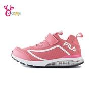 FILA童鞋 女童運動鞋 童氣墊鞋 足弓 避震運動鞋 跑步鞋 慢跑鞋 魔鬼氈 Q7663#粉紅◆奧森