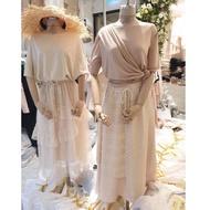 全新韓國RARA家 右圖蕾絲拼接裙 米色