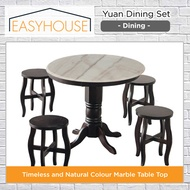 Yuan Dining Set   Dining   Marble Table Top   Solid Wood Table Structure