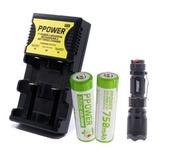 Ppower - PPOWER 2X 750MAH 14500 3.7V鋰電池+ 1X 萬能兩槽充電器(PIIA)+1x 14500 LED Q5 可聚焦強光戰術電筒