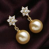金色美麗 南洋金珠貝珠天然母貝珍珠耳環 925純銀防過敏 氣質高貴1入