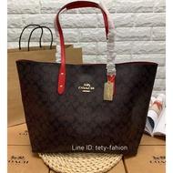 กระเป๋าสะพายข้างสีแดง COACH 76636 SIGNATURE TOTE BAG