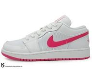 [25cm] 2014 經典重現 復刻鞋款 台灣未發售 NIKE GIRLS AIR JORDAN 1 LOW GS 大童鞋 女鞋 低筒 全白 白粉紅 白桃紅 珍珠光澤 皮革 AJ (554723-109) !