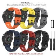 6PCS Soft Silicone Watch Band Strap with Lugs Connector and Screwdriver for Garmin Fenix 3 / Fenix 3 HR / Fenix 5X Smart Watch - Multi Colors
