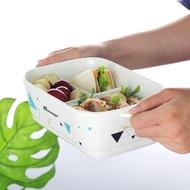 便當盒帶蓋分隔陶瓷飯盒微波爐加熱專用兩三分格便當盒長方形帶飯密封碗 曼莎時尚